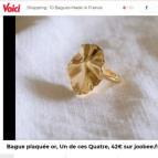 Joobee : bague dorée Helios de Un de Ces Quatre dans la presse