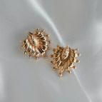 Boucles d'oreilles puces plaqué or Palmettes de Un de Ces Quatre