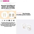 Joobee : Boucles d'oreilles créoles doubles perle Lisbonne par Gisel b. dans Cosmopolitan