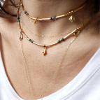 Joobee : collier perles labradorite Fès rose de Petite Madame porté