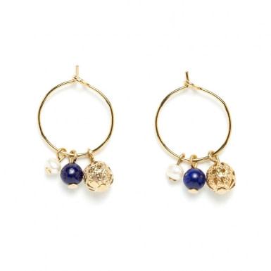 Joobee : Boucles d'oreilles mini créoles lapis lazuli Donna de Jour de Mistral