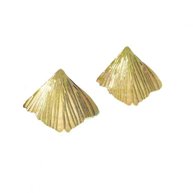 Boucles d'oreilles puces feuille Ginkgo de Nadja Carlotti