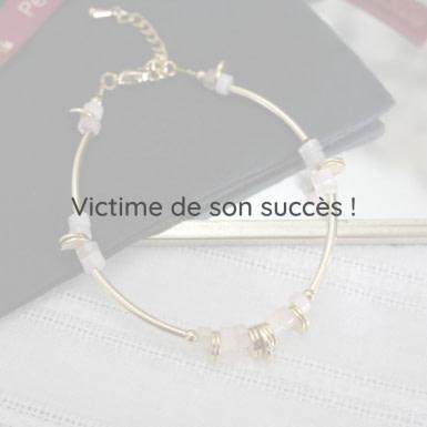 Joobee : bracelet disque quartz rose de Petite Madame