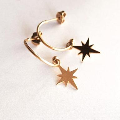Joobee : boucles d'oreilles mini créoles étoile de Léone