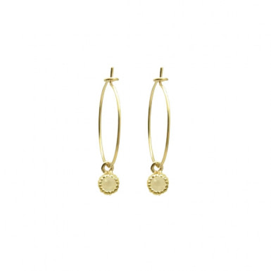 Joobee : boucles d'oreilles mini créoles pierre de lune Amalfi de By Johanne