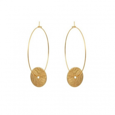 Joobee : Boucles d'oreilles créoles pendentif disque Orsay de 4 Crosses