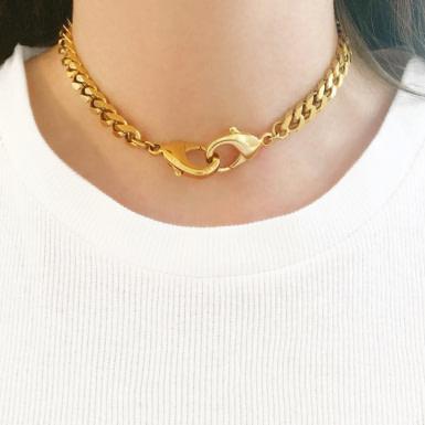 Joobee : collier choker maille gourmette Patti de Helles porté