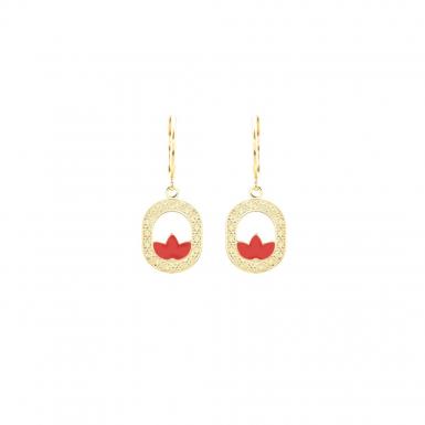 Joobee : boucles d'oreilles pendantes émail corail Madison de Aurélie Joliff