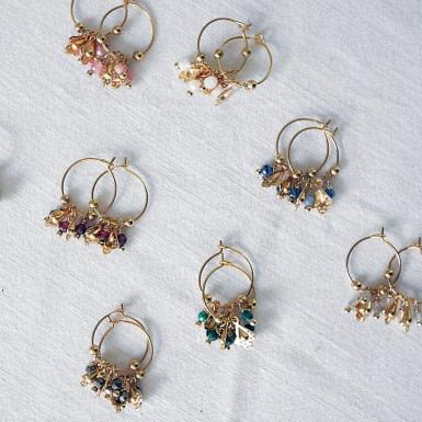 Joobee : boucles d'oreilles mini créoles rhodochrosite Fès de Petite Madame