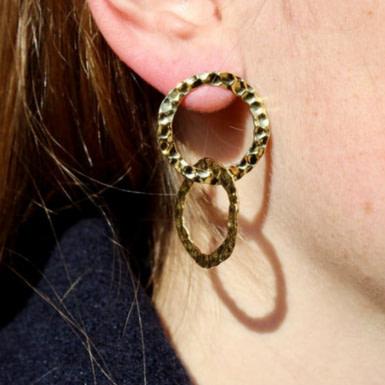 Joobee : Boucles d'oreilles créoles doubles or martelé Nora de Elis Paris