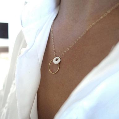 Joobee : collier pendentif porcelaine Cerame de Sissi 100Fils porté