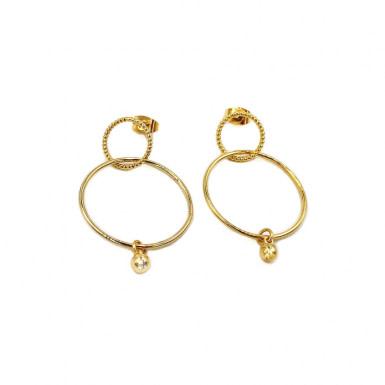 Joobee : boucles d'oreilles créoles doubles perle or Aella de Stella Mai