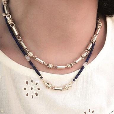 Joobee : collier gros maillons tubes Masha de Mai porté