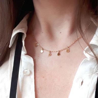 Joobee : collier petites pampilles Thea de Sissi 100Fils porté