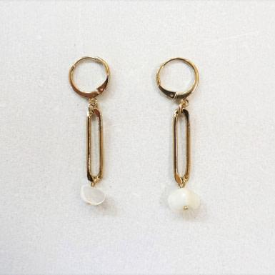 Joobee : Boucles d'oreilles pendantes nacre Gaby nacre de Maison Clairon