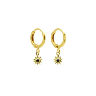 Joobee : Boucles d'oreilles mini créoles mini créoles onyx noir Monaco Soleil de By Johanne