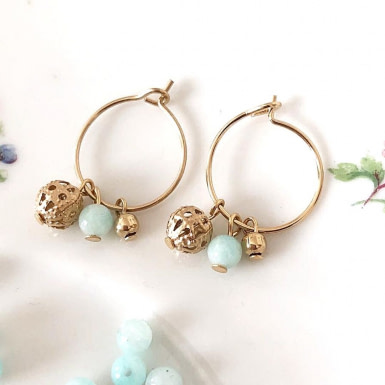 Joobee : Boucles d'oreilles mini créoles amazonite Donna