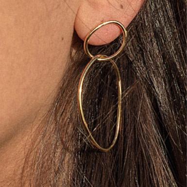 Joobee : Boucles d'oreilles créoles doubles Halo portées