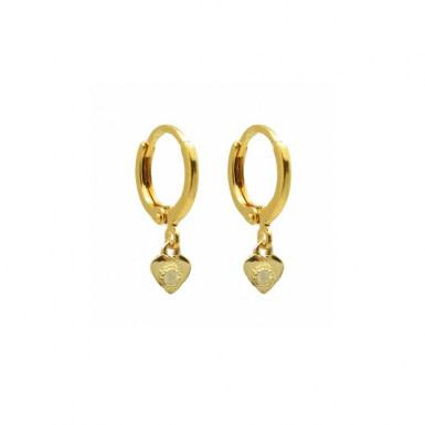 Joobee : boucles d'oreilles mini créoles cœur pierre de lune Monaco Coeur de By Johanne