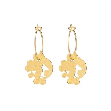 Joobee : Boucles d'oreilles mini créoles pompon Mimosa de Jour de Mistral